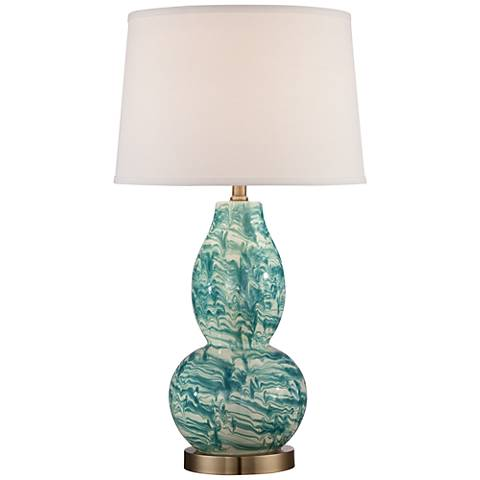 Victoria Blue and White Marbleized Glass Table Lamp