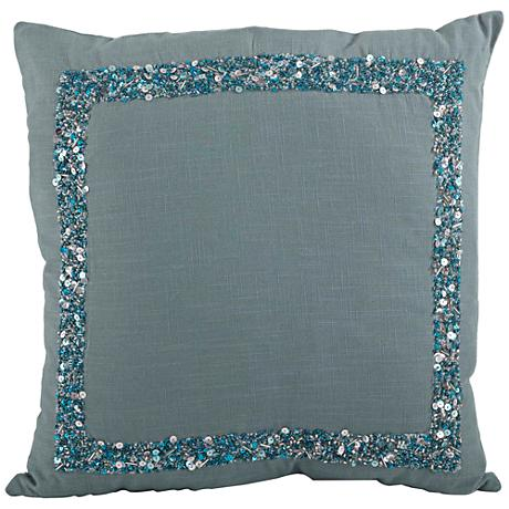 "Sea Green Seed Bead Pillow 18"" Square Decorative Pillow"