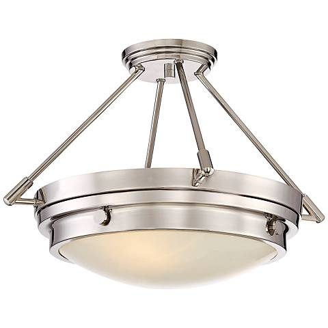 "Savoy House Lucerne 18 1/2""W 3-Light Nickel Ceiling Light"