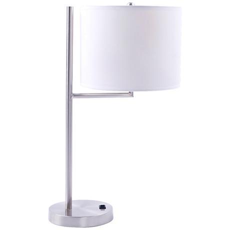 Livonia White Drum Brushed Nickel Desk Lamp