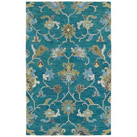 Kaleen Helena 3209-78 Turquoise Blue 8'x10' Wool Area Rug