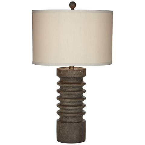 Tahiti Stacked Faux Wood Dark Brown Table Lamp