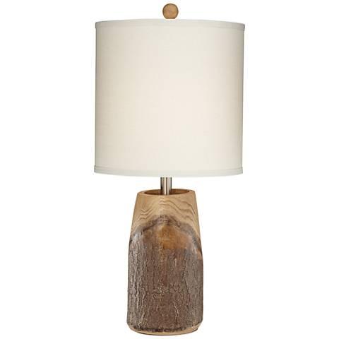 Scarlet Faux Brown Wood Table Lamp