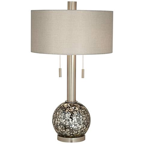 Empress Brushed Steel Smoke Glass Table Lamp