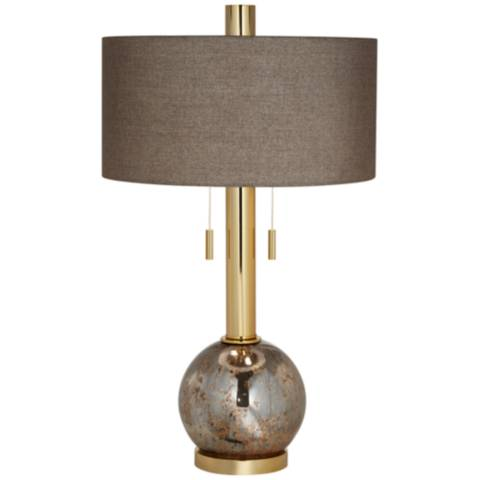 Empress Warm Gold Antique Mercury Glass Table Lamp