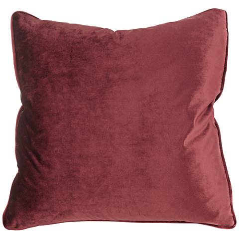 "Tessa Crimson Velvet 18"" Square Decorative Pillow"
