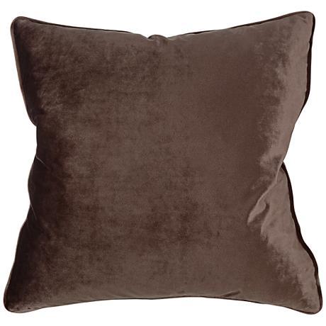 "Tessa Espresso Velvet 18"" Square Decorative Pillow"