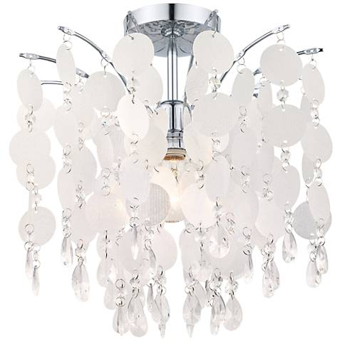 "Eglo Fedra 16"" Wide Crystal Chrome Ceiling Light"