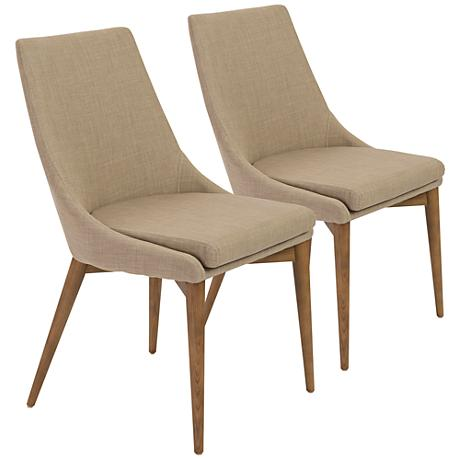 Calais Light Tan Fabric Walnut Dining Side Chair Set of 2