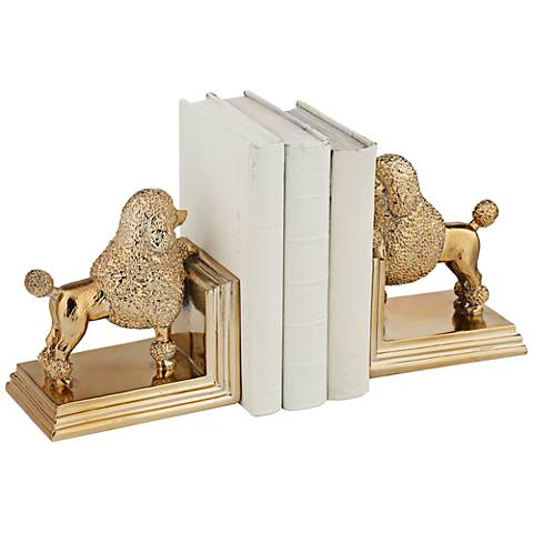 Poodle Dog Gold Decorative Bookends Set