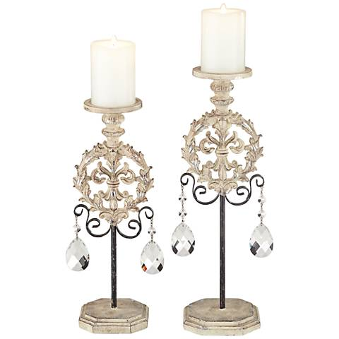 Piccoli White Wash Pillar Candle Holder Set of 2