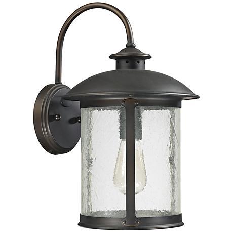 """Capital Dylan Glass 15 1/4""""H Bronze Outdoor Wall Light"""