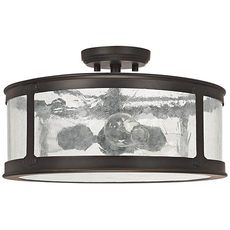 "Capital Dylan Glass 16""W Old Bronze Outdoor Ceiling Light"