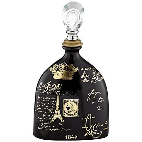 "French Script 14 1/2"" High Decorative Black Ceramic Bottle"