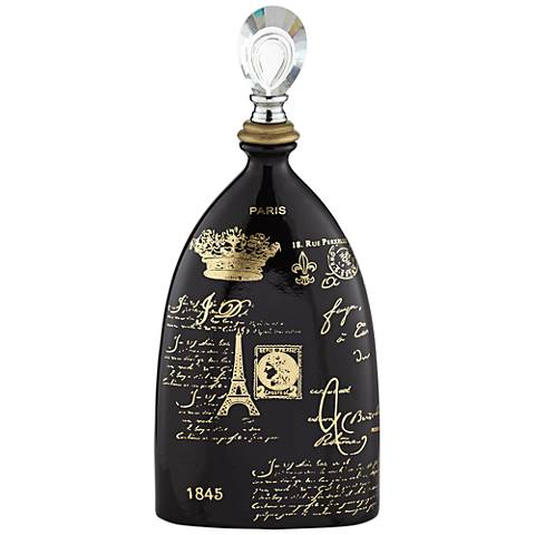 "French Script 18 3/4"" High Decorative Black Ceramic Bottle"