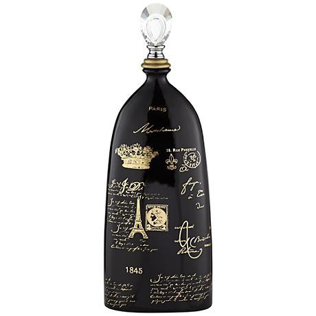 "French Script 23"" High Decorative Black Ceramic Bottle"