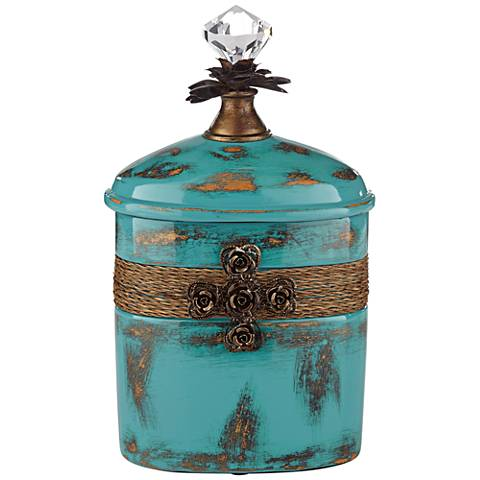 "Pelini Teal Blue 10 1/2"" High Decorative Canister"