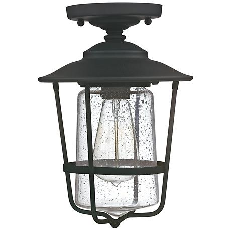 """Creekside 8 1/4""""W Black Clear Glass Outdoor Ceiling Light"""
