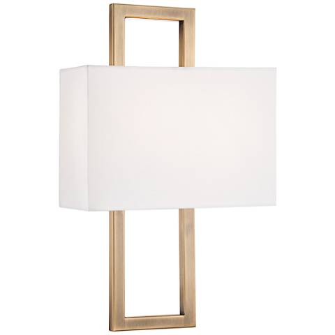 """Possini Euro French Brass 15 1/2""""H Rectangular Wall Sconce"""