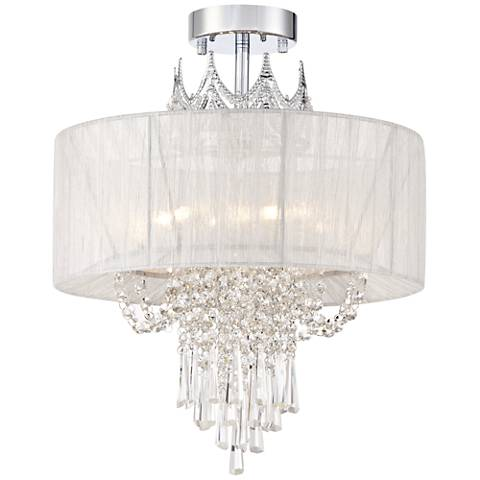 "Hallie 16"" Wide Clear Crystal Ceiling Light"