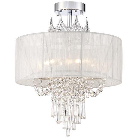 "Hallie 16"" Wide Clear Crystal Ceiling Light"