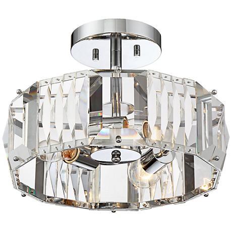 """Possini Euro Carazo Chrome 14""""W Crystal Ceiling Light"""