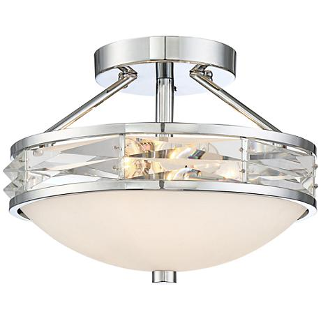 "Possini Euro Escaro Chrome 13"" Wide Glass Ceiling Light"