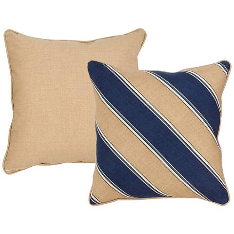 "Isle Taupe and Blue Striped 18"" Square Indoor-Outdoor Pillow"