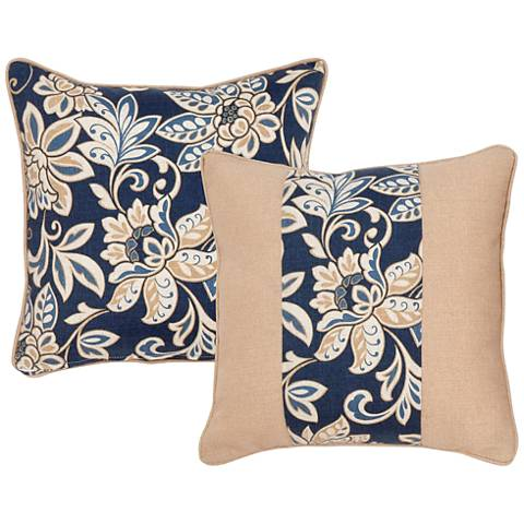 "Isle Taupe and Blue Floral 18"" Square Decorative Pillow"