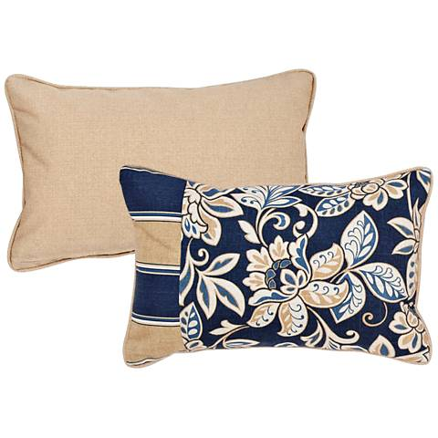 "Isle Taupe and Blue 20""x13"" Lumbar Indoor-Outdoor Pillow"