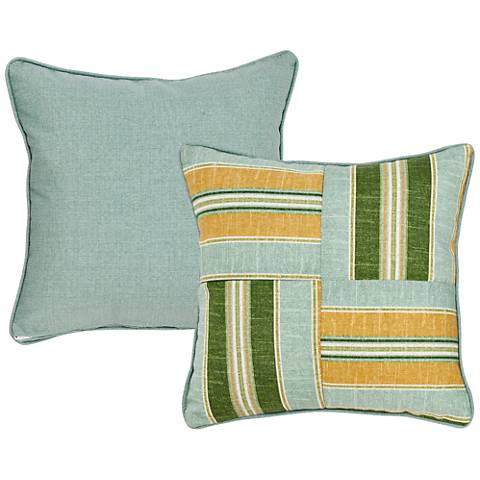 "Mist Blue and Green Striped 18"" Square Decorative Pillow"