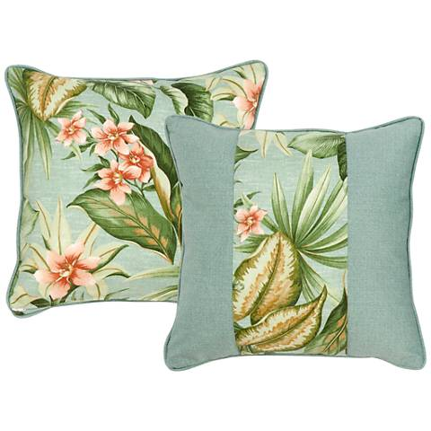 "Mist Blue and Green Floral 18"" Square Indoor-Outdoor Pillow"