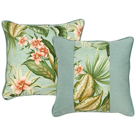 """Mist Blue and Green Floral 18"""" Square Decorative Pillow"""