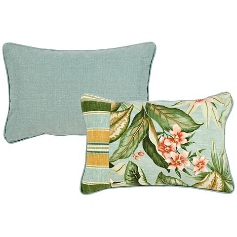 "Mist Blue and Green 20""x13"" Decorative Indoor-Outdoor Pillow"
