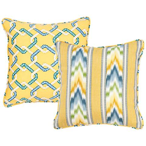 "Opal Striped and Chain Link 18"" Square Indoor-Outdoor Pillow"
