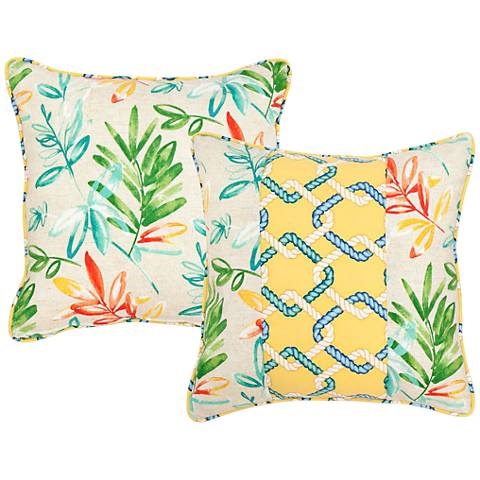 "Opal Floral and Chain Link 18"" Square Indoor-Outdoor Pillow"