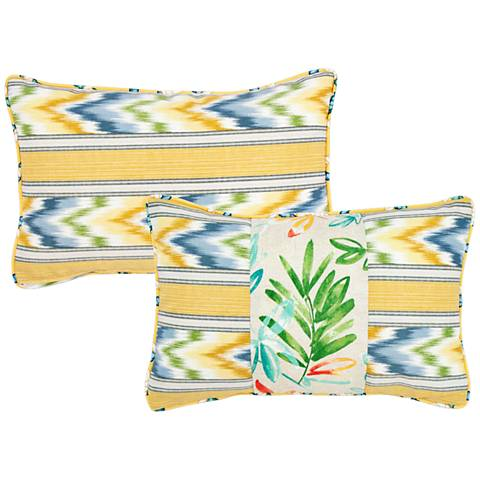 "Opal Floral and Striped 20""x13"" Lumbar Indoor-Outdoor Pillow"