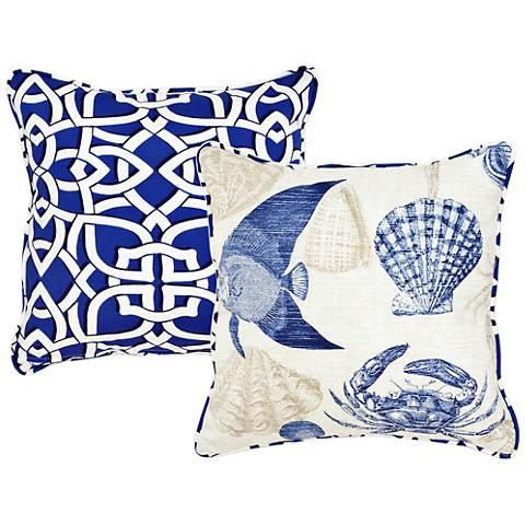 "Marina Blue Seashell 18"" Square Decorative Pillow"