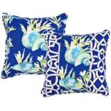 "Marina Blue Chain Link and Seashell 18"" Square Pillow"