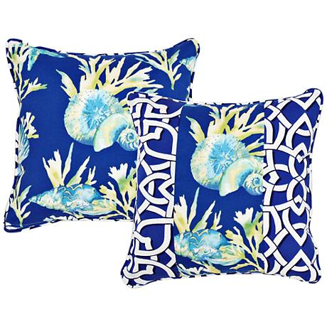 """Marina Blue Chain Link and Seashell 18"""" Square Pillow"""