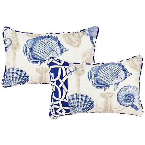 """Marina Blue and Taupe 20""""x13"""" Lumbar Pillow"""