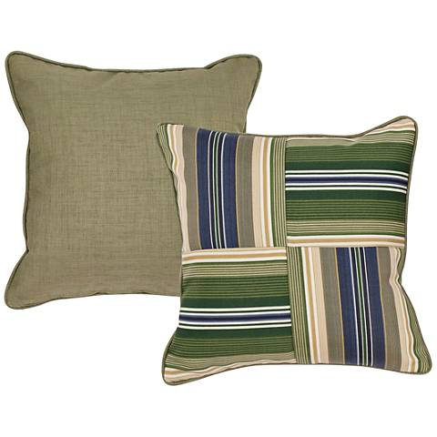 "Garden Green and Taupe Striped 18"" Square Decorative Pillow"