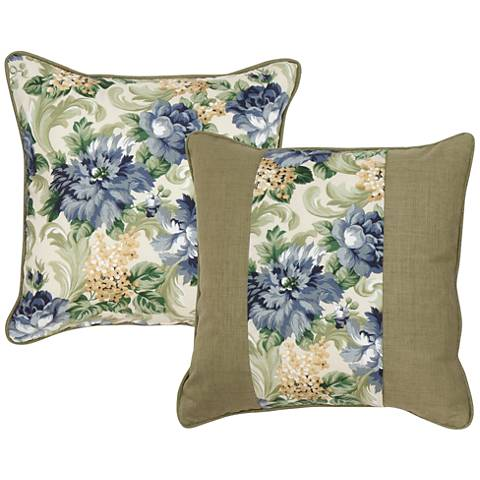 """Garden Green and Taupe Floral 18"""" Indoor-Outdoor Pillow"""