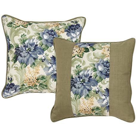"Garden Green and Taupe Floral 18"" Square Decorative Pillow"
