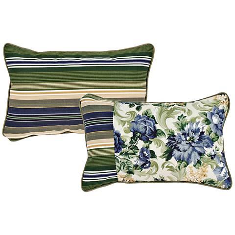"""Garden Green and Taupe 20""""x13"""" Lumbar Indoor-Outdoor Pillow"""