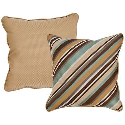 "Stella Taupe Diagonal Striped 18"" Indoor-Outdoor Pillow"