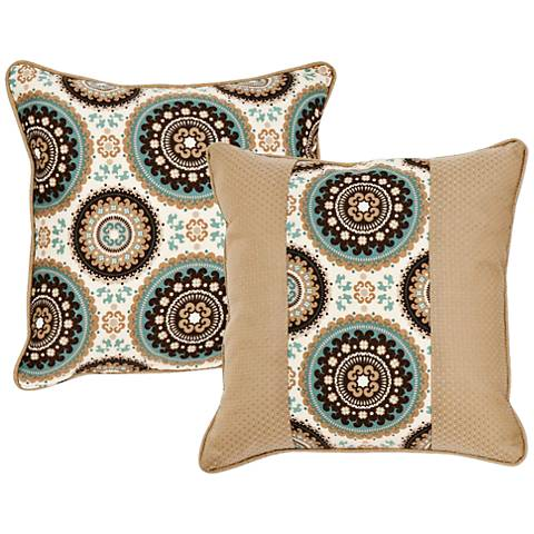 "Stella Taupe Medallion 18"" Square Indoor-Outdoor Pillow"