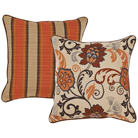"Flame Burnt Orange Floral 18"" Square Indoor-Outdoor Pillow"