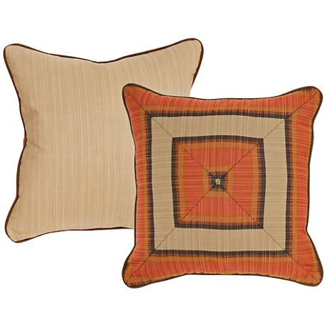 "Flame Burnt Orange Geometric 18"" Square Decorative Pillow"