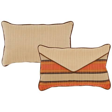 """Flame Burnt Orange and Tan 20""""x13"""" Indoor-Outdoor Pillow"""